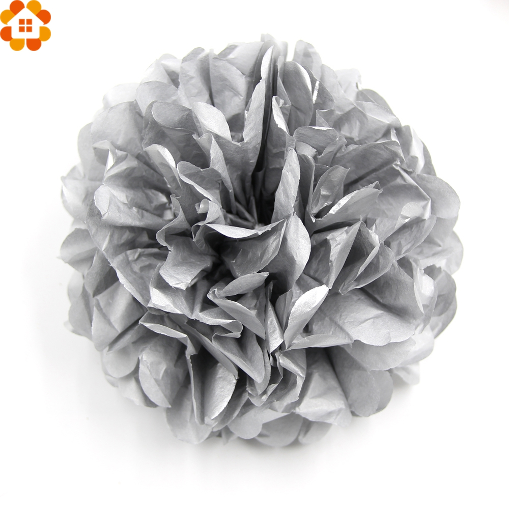 5PCS DIY Gold&Sliver Paper Pompoms Tissue Paper Pompom Paper Flowers Ball Home Garden/Kids Birthday Decoration Wedding Favors