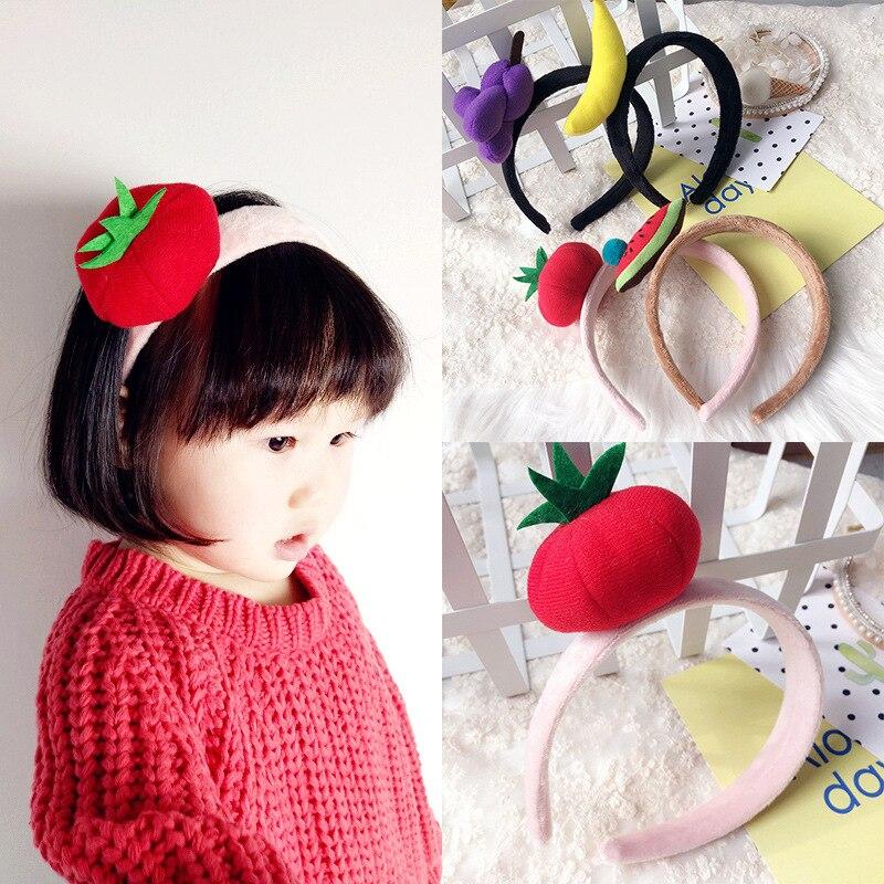 Korea Winter Hairband Hair Accessories For Girls Colorful Fruit Wool Ball Flower Crown Headband Hair Band Hair Bow Princess 45