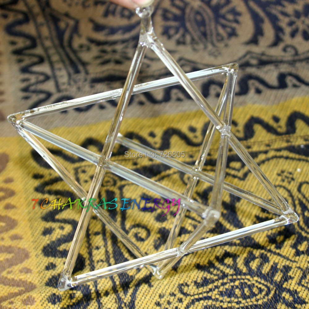 10 inches crystal singing double pyramid for healing energy merkaba pyramid