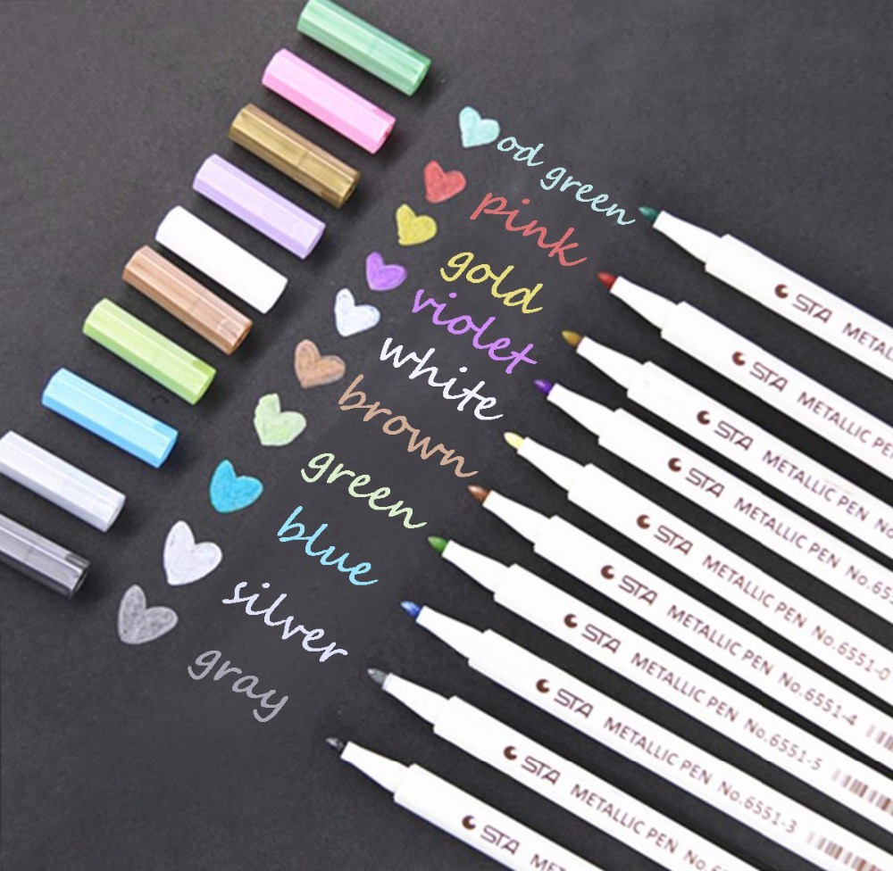 STA metallic gold fine point indelible marker pen water based colorful permanent silver paint art markers for black paper glass