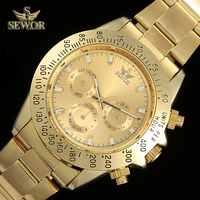 SEWOR Mens Fashion Gold Watch Super Luxury All Golden High Quality Sport Watch Men Automatic Watch relogio masculino C1259