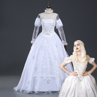 Movie Alice in Wonderland The White Queen Cosplay Costume white Fancy Dress for adults Custom Made