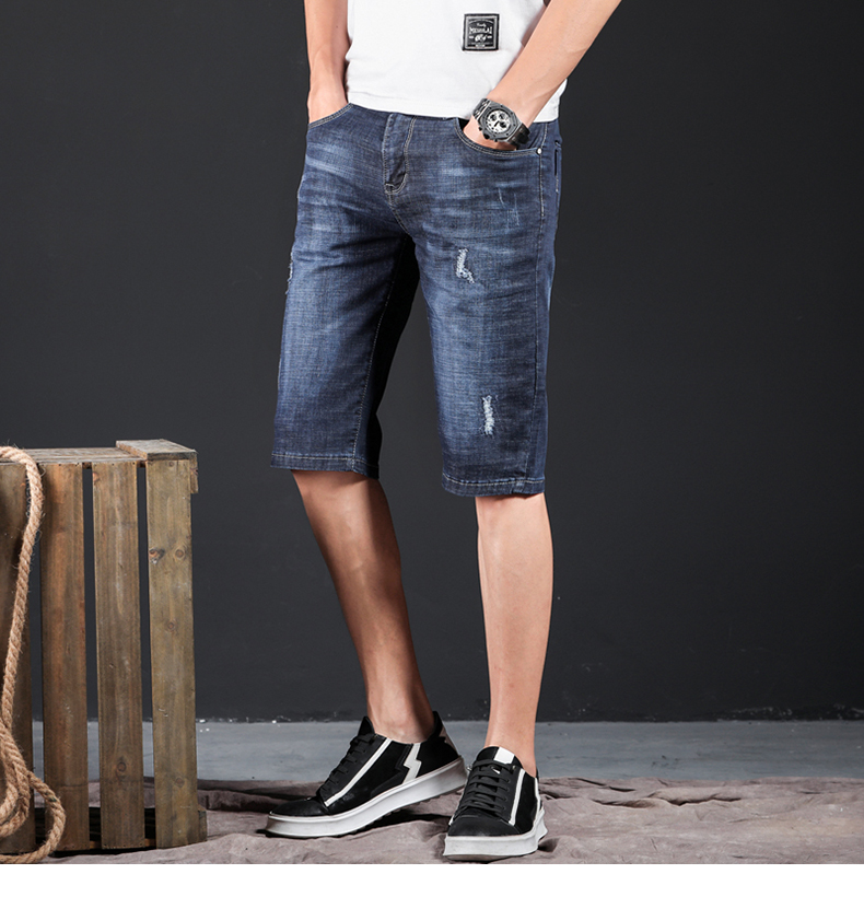 KSTUN Mens Jeans Brand Ripped Biker Jeans Men Shorts Denim Pants Elastic Dark Blue Streewear Frayed Slim Fit Pantalon Homme Jean 12