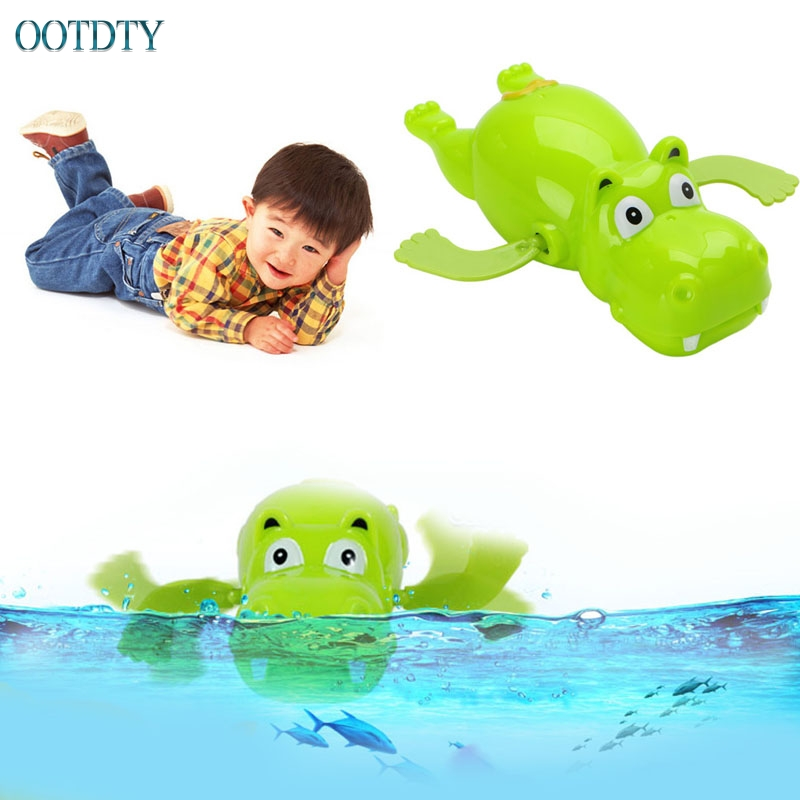 1Pc Children Baby Bathing Float Hippo Animal Clockwork Dabbling Toy Funny #046