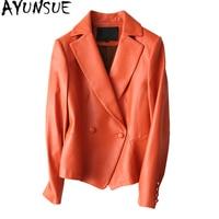 Ayunsue Повседневное настоящие кожаные пальто Для женщин натуральной овчины куртка из натуральной кожи Для женщин Весенние жакеты jaqueta feminina