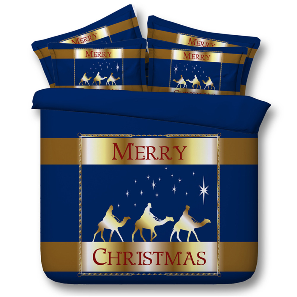 Children Gift Merry Christmas Home Textiles Decoration Blue and Gold fabric Bedding Sets Twin/Queen/King/Super King Size 3/4PC