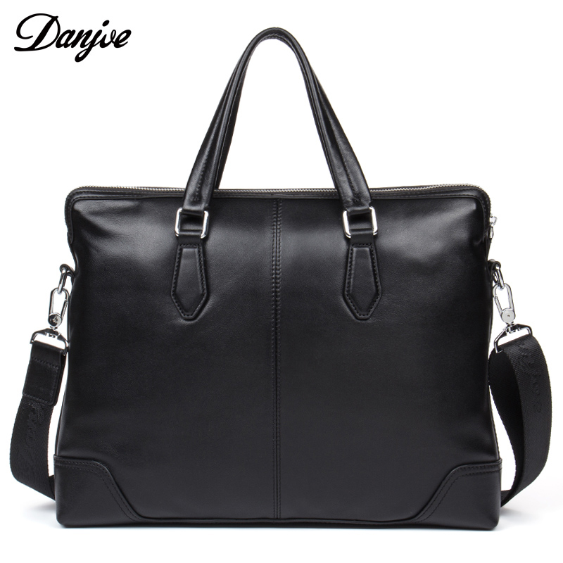 DANJUE Genuine Leather Handbag Men Business Briefcase Leisure Laptop Messenger Bag Fashion Large Capacity Men Crossbody Bag