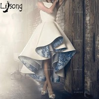 Высокий Низкий Кружева внутри плиссированные без рукавов Для женщин торжественное платье вечерние платья индивидуальный заказ Chic Дизайн ж