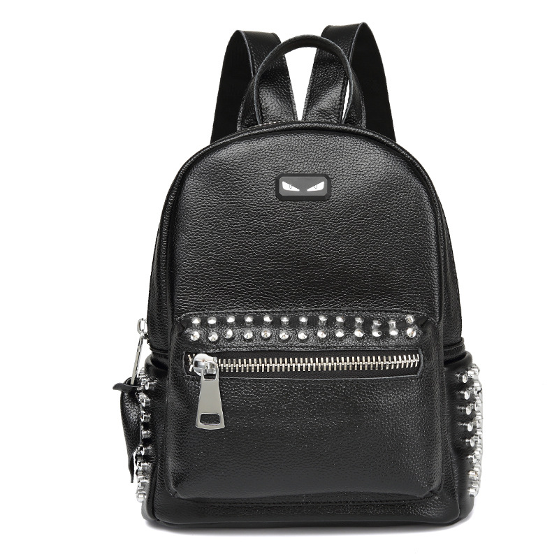 2018 Genuine Leather Backpacks Female School Bags Little Monster Rivets Cowhide Real Leather Backpack Women new arrival women genuine leather backpack young lady real leather backpack luxury female school bags with simple design e143