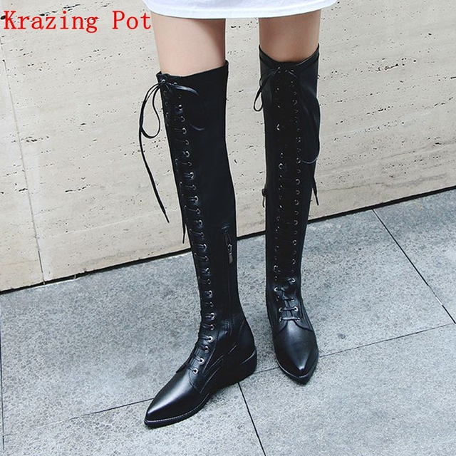 a25d6da00feb Krazing Pot genuine leather streetwear vintage design pointed toe rivets  handsome boots western Chelsea over-the-knee boots L5f5