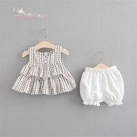 여름 아기 여자 아이 인쇄 플로라 프릴 스커트 민소매 블라우스 드레스 + 반바