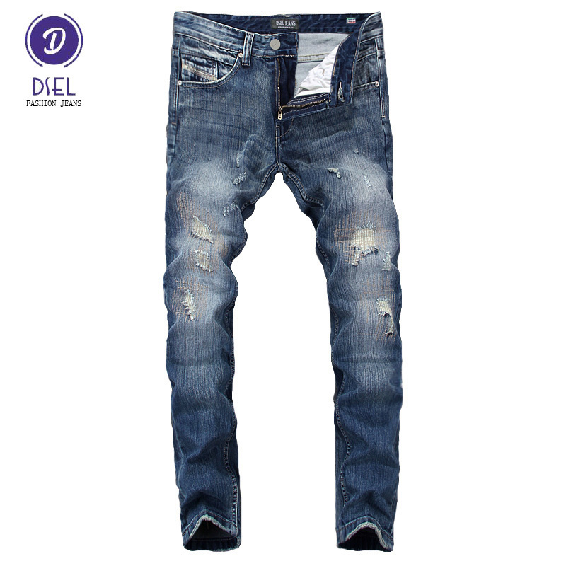 Italian Design Fashion Mens Jeans Pants DSEL Brand Blue Color Denim Elastic Stretch Slim Fit Ripped Jeans Men Skinny Biker Jeans thin stretch jeans ripped denim trousers slim skinny black jeans men new famous brand biker jeans elastic mens jeans l702