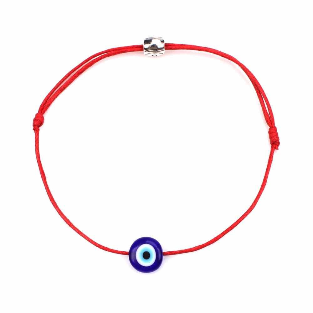 Pulseras de ojo malvado turcas de la suerte para mujeres, 6 colores hechos a mano, cuerda trenzada, joyería de la suerte, pulsera roja para mujer
