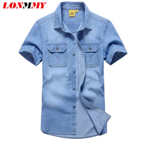 LONMMY M-3XL Denim shirt men Jeans Chemise homme Cotton Brand-clothing Mens dress shirts Short sleeve Fashion 2017 Summer