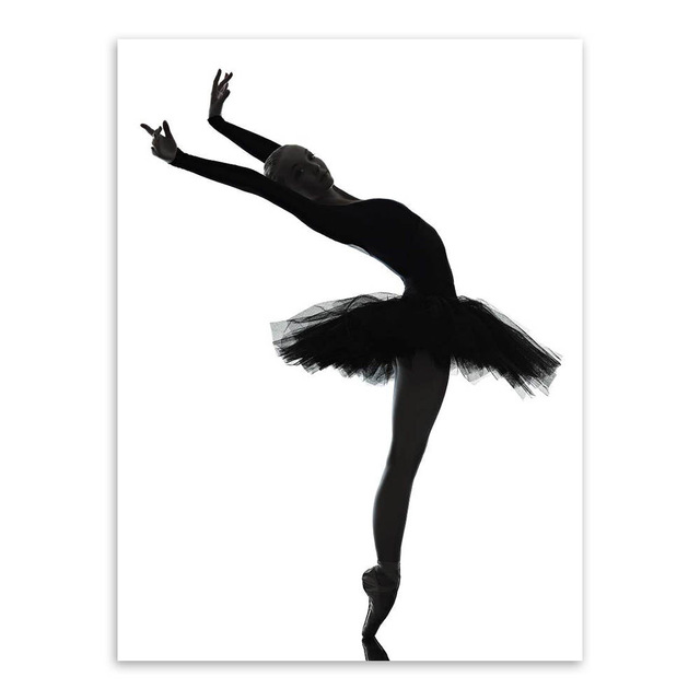 Modern black white elegant beautiful ballet dancer photo art print poster wall picture canvas painting ballerina home decor in painting calligraphy from