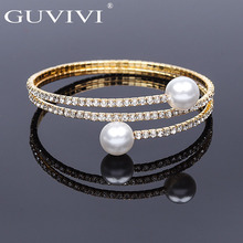 Guvivi Fashion Crystal Pave Open Wrist Bracelets For Women Girls Luxury Imitation Pearl Gold Silver Bracelets Bangles Jewelry недорого