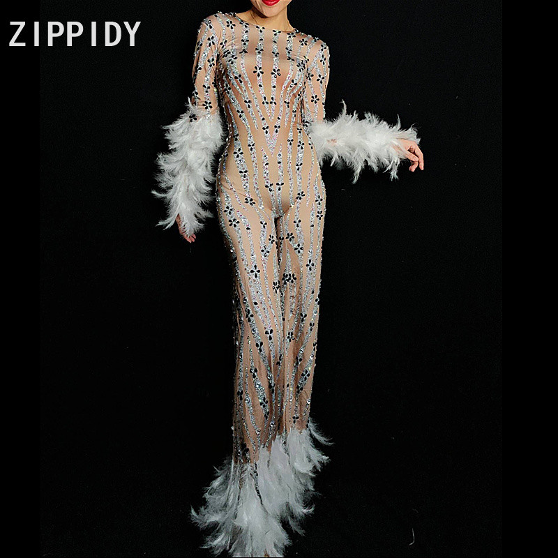 Sparkly Rhinestones White Feather Spandex Jumpsuit Long Sleeves Bodysuit Big Leggings Birthday Party Nightlcub Singer Stage