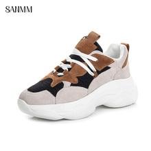 SANMM Women Spring Autumn Sneakers Thick Sole Flat Platform Leather Mesh Shoes Woman Lace-Up Walking AZ65