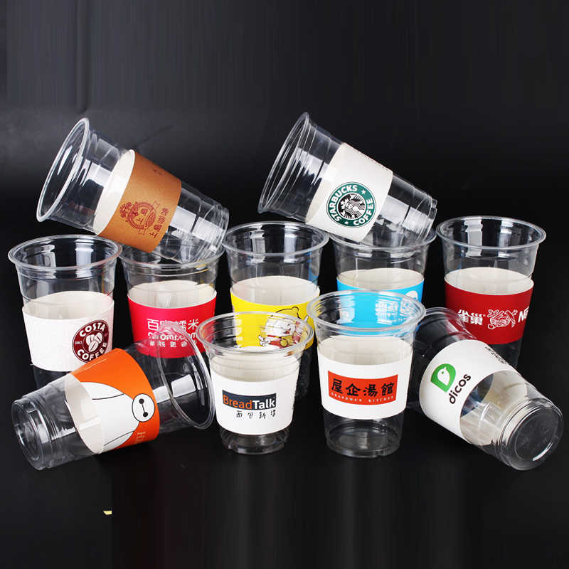 1000 pcs Custom Disposable Cup sleeve White cardboard paper coffee tea juice Cup sleeve Adjustable size Customized supplier