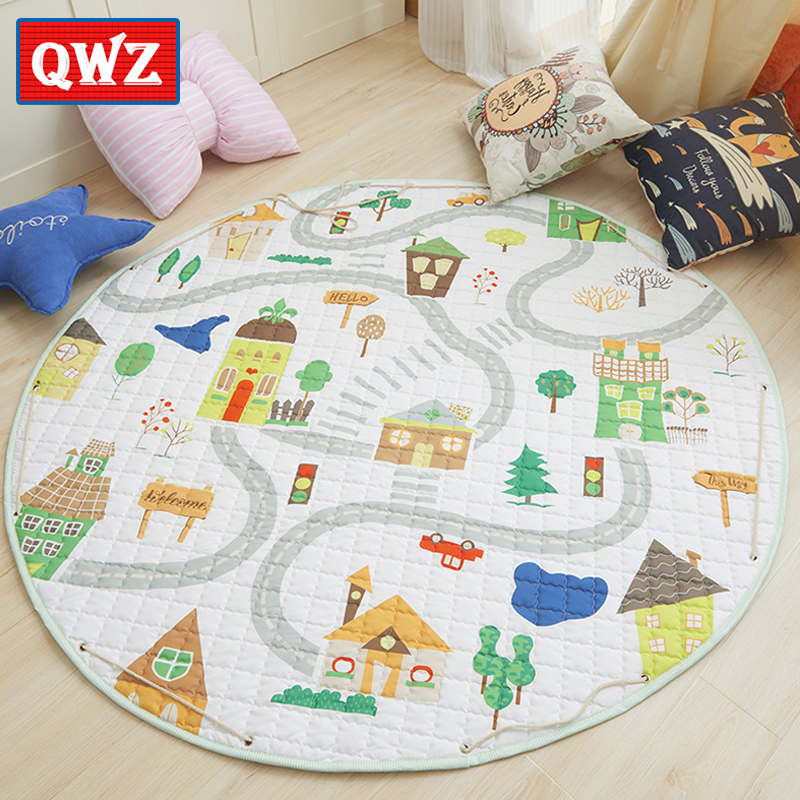 QWZ 150cm Soft Baby Play Mat Cartoon Deep Forest Maze Kids Rug Floor Mat Boy Girl Carpet Game Mat For Children Toy Storage Bag forest pattern skidproof flannel rug