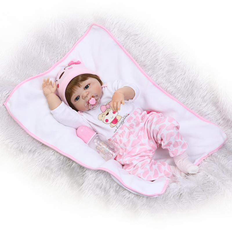 Nicery 22inch 55cm Magnetic Mouth Reborn Baby Doll Hard Silicone Lifelike Toy Gift for Children Christmas Pink Hat Lovely Doll super cute plush toy dog doll as a christmas gift for children s home decoration 20