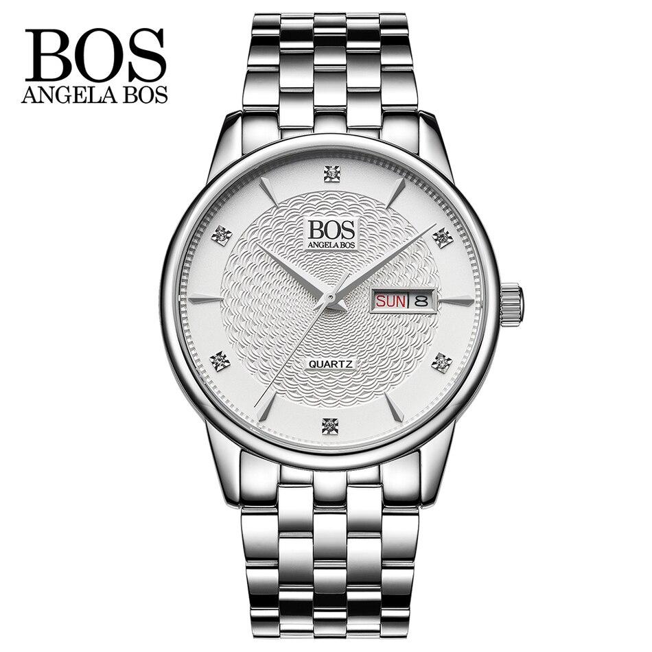 ANGELA BOS Fecha Diamantes de imitación a prueba de golpes Reloj - Relojes para hombres - foto 1