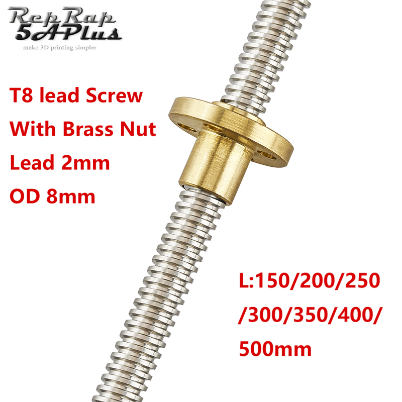 T8 Lead Screw OD 8mm Pitch 2mm 150mm 200mm 250mm 300mm 350mm 400mm 500mm with Brass Nut for Reprap 3D Printer Z Axis