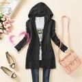 Ocasional das Mulheres da primavera Longo-luva de Malha Camisola Outerwear Médio-longo Com Capuz Cardigan 51