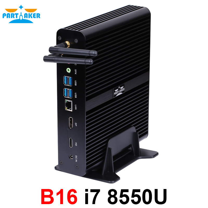 Partaker Fanless Mini PC I7 8565U I7 8550U Kaby Lake 4 Core 8 Threads 2*DDR4 M.2 PCIe Mini Computer Windows 10 Pro DP HDMI HTPC