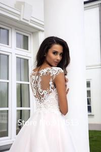 Image 2 - Pink Lovely Wedding Dress Short Cap Sleeve Illusion Lace Button Applique Zipper A line Bridal Dress vestido de noiva