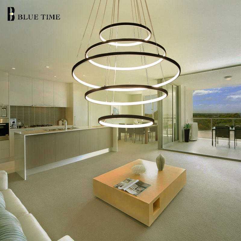 New Circle Rings Modern LED Pendant Lights For Living Room Bedroom 5 4 3 2 Tiers Led Pendant Lamp Fashion Home Lighting Fixtures diamond himmeli pendant lights black iron art birdcage pendant lamp suspension for living room bedroom lighting fixtures pl321 page 5
