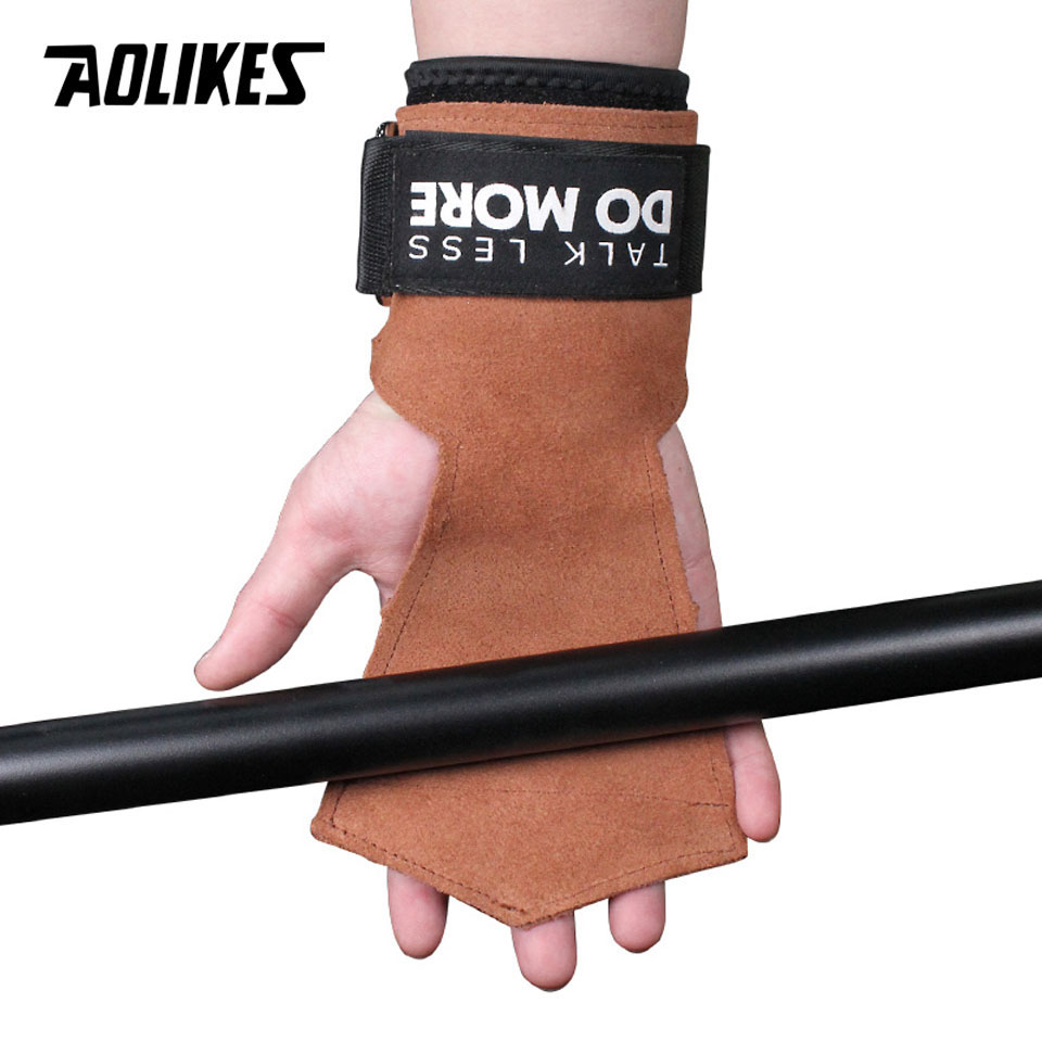 AOLIKES 1Pair Cowhide Hand Grips Gymnastics Glove Grips Anti-Skid Gym Fitness Gloves Weight Lifting Grip Gym Crossfit Trainining