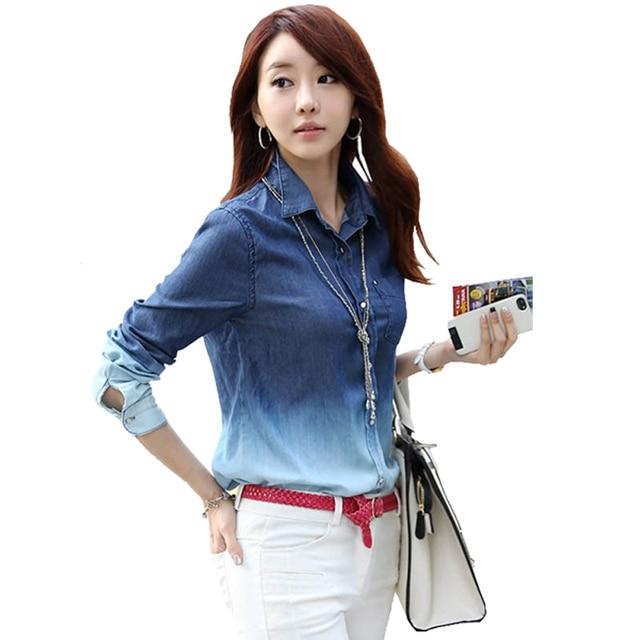 44411c28c4e Blusas Femininas 2015 New Denim Shirt Blusinhas Camisa Jeans Feminina Blusa  De Renda Cardigan Women Jeans Shirt Plus Size Blouse