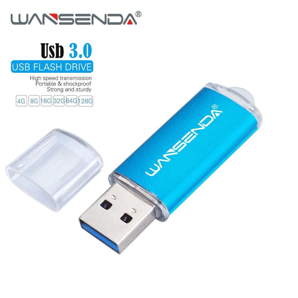 New WANSENDA USB 3.0 Flash Drive 128GB 64GB Metal Pen Drive 32GB 16GB 8GB High Speed USB Flash Memory Stick 3.0 Pendrive