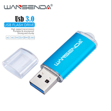 New WANSENDA USB 3.0 Flash Drive 128GB 64GB Metal Pen 32GB 16GB 8GB High Speed Memory Stick Pendrive