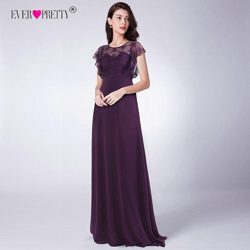 Ever Pretty Long Bridesmaid Dresses Dark Purple Chiffon Wedding Party Gown EZ07648DP New Illusion Lace vestido de festa longo