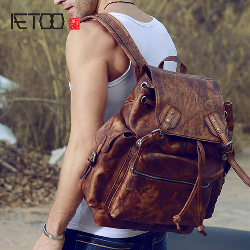 AETOO The new  imports of hand-made color of the skin to do the old backpack original men orient unaw002w