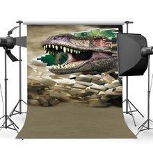 3D dinosaurio telón de fondo roto la pared de ladrillo período Jurásico telón de fondo de dibujos animados fondo de cuento de hadas