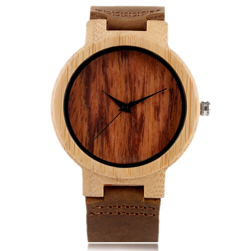 Classical Brown Hand-made Wooden Mens Women Quartz Watch Genuine Leather Watchband Simple Design Casual Watches for Male Gift