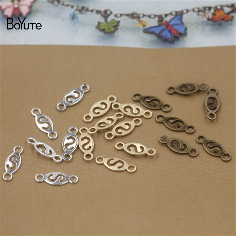 BoYuTe 200Pcs 14*5MM Metal Brass Filigree Connector Charms DIY Jewelry Findings Components