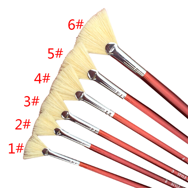 Red Pen Holder Paint Brush Different Size Fan Brushes Watercolor/Oil Painting Gouache Drawing School Office Supply 1pc/6pcs
