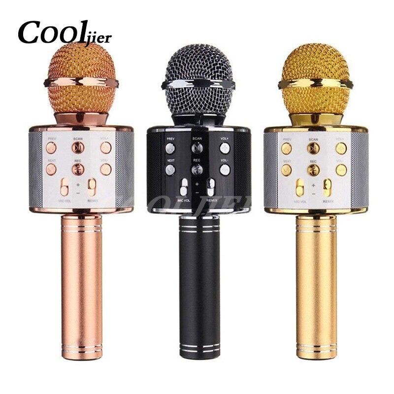 COOLJIER Sans Fil Bluetooth Microphone WS-858 De Poche USB KTV Lecteur Enregistrer de La Musique Microphones Portable Bluetooth Mic Haut-Parleur