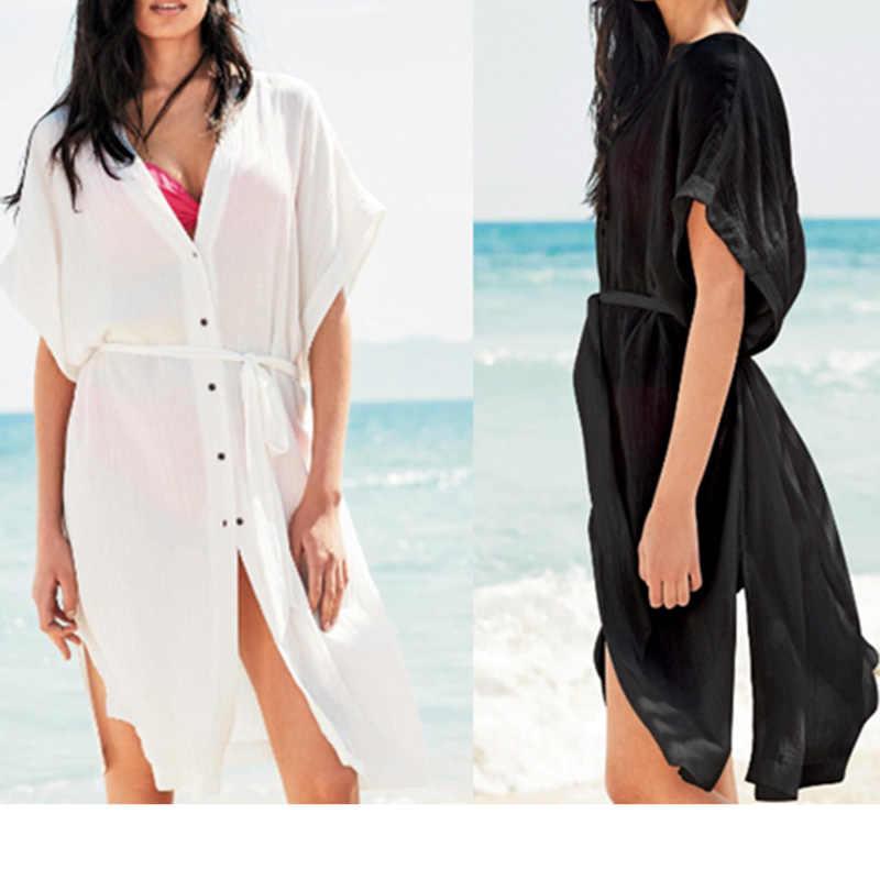 64348913e5b02 Beach Cover up 2019 Kaftan Beach Bathing Suit Cover ups Tunics for Beach  Pareo Beach Wear