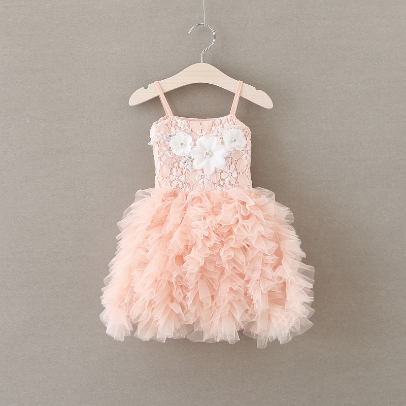 2016 Summer New Lace Vest Girl Dress Baby Girl Princess Dress 2-6 Age Children Clothes Kids Party Costume Ball Gown pink 2017 new summer children girl long sleeve lace dress kids clothes cotton child party princess tank girl dress sundress age 2 10y