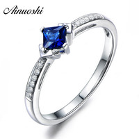 AINUOSHI 1.25 Carats Princess Cut Blue Sona Bridal Rings 925 Sterling Silver Women 4 Prongs Rings Wedding Engagement Jewelry
