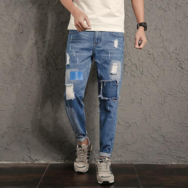 new designer hip hop jeans men pants knee patchwork ripped. Black Bedroom Furniture Sets. Home Design Ideas