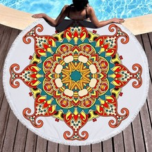 Rotondo Telo Mare Della Coda Della Sirena Mandala Stampato Estate Telo da bagno di Grandi Dimensioni In Microfibra, Tovagliolo di Yoga Yoga Zerbino Arazzo Coperta Toallas