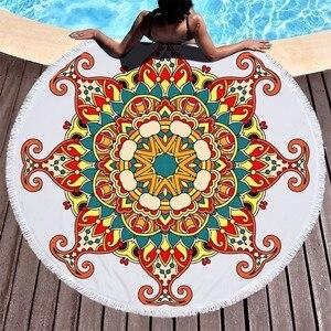 Image 1 - Round Beach Towel Mermaid Tail Mandala Printed Summer Bath Towel Large Microfiber Beach Towel Yoga Mat Tapestry Blanket Toallas