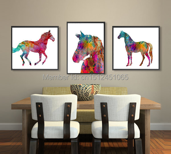 Modern kids room decor abstract colorful watercolor art print horse animal home decor printed for Canvas prints childrens bedrooms