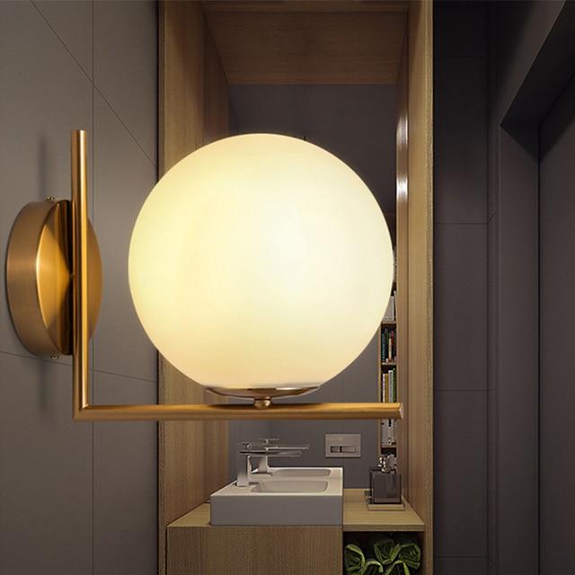 Moderna Lampada Da Parete Luce della Sfera di Vetro Sconce ...